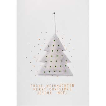"""Weihnachtskarte mit Gazeanhänger """"Tanne"""""""