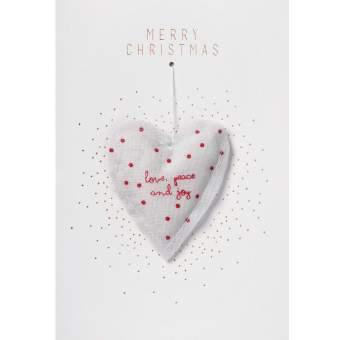 """Weihnachtskarte mit Gazeanhänger """"Herz"""""""