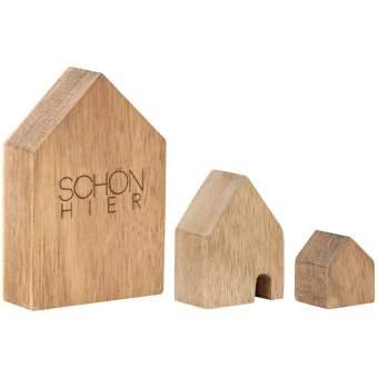 """Holzhäuser Set aus 3 """"Schön hier"""""""