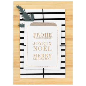 """Weihnachtsgeschenkkarte """"Frohe Weihnachten 3-sprachig"""""""
