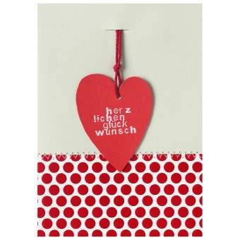"""Herzanhängerkarte rot """"Herzlichen Glückwunsch"""""""