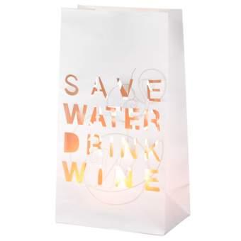 """Poesie et Table. Vino. Lichttüte """"Save water drink wine"""""""