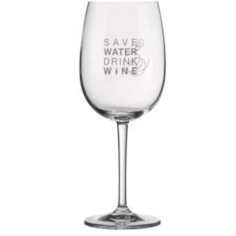 "Weinglas ""Save water drink wine"""