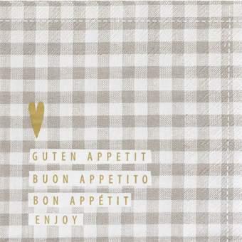 """Serviette Guten Appetit """"weiß/braun"""""""