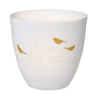 """Poesielicht aus Porzellan """"Vögel, gold"""""""